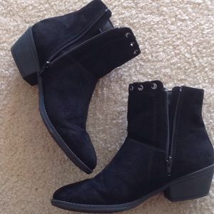 Justice Black Faux Suede Boot with Tassels
